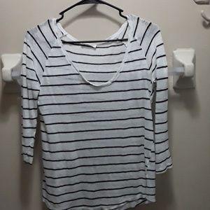 Zara black and white striped 3/4 sleeve sweater